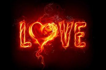 Fire heart wallpaper, typography