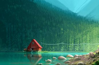 Red wooden house near body of water, red house on body of water surrounded with trees artwork