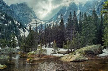 Body of water and trees, nature, landscape, mountains, forest