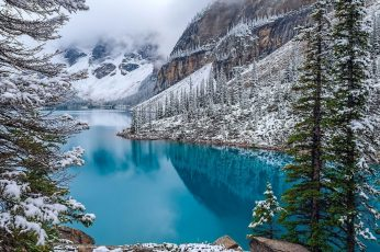 Body of water, nature, landscape, Moraine Lake, Canada, winter