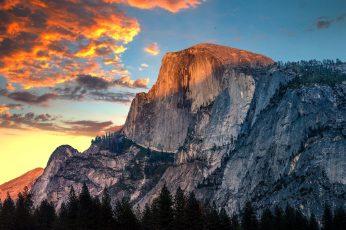 Nature, mountains, cliff, rock, sunset, Yosemite National Park