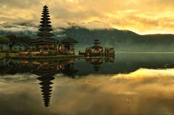 Body of water beside house painting, nature, landscape, Indonesia