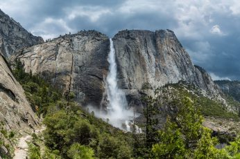 Mountain wallpaper, waterfall, national park, rock, yosemite national park