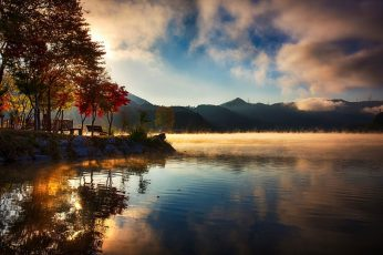 Body of water, nature, landscape, lake, mountains, reflection