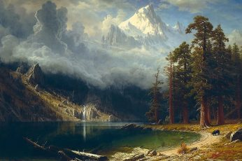Body of water painting, nature, landscape, artwork, trees, forest