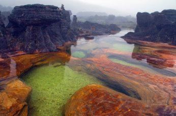 Body of water on rock, nature, landscape, Mount Roraima, Venezuela
