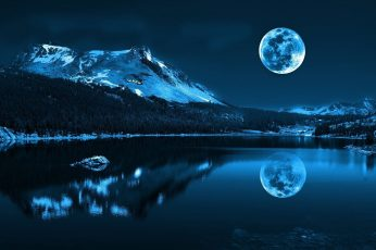 Reflection of snowy mountain on body of water under full-moon wallpaper