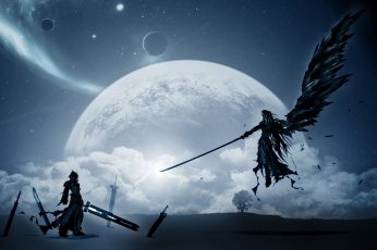 Final Fantasy 7's Cloud Strife and Sephiroth digital wallpaper