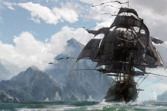 Brown pirate ship digital wallpaper, sake, sword, game, island