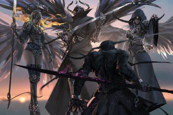 Four game characters digital wallpaper, WLOP, digital art, artwork