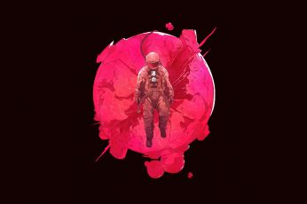 Digital art, astronaut, science fiction, minimalism