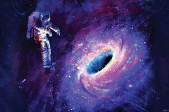 Astronaut near black hole digital wallpaper, artwork, space, space art