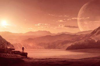 Mars, 4K, Astronaut, Alone, Sci-Fi, sky, scenics – nature, beauty in nature