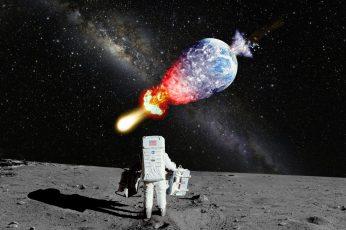 Astronaut NASA Moon Landing Moon Explosion Galaxy Milky Way Stars Earth Planet HD