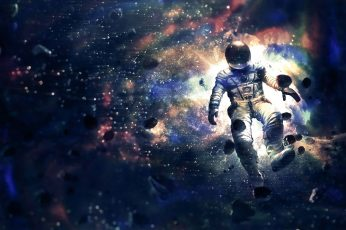 Astronaut on space wallpaper, LSD, drugs, front view, nature