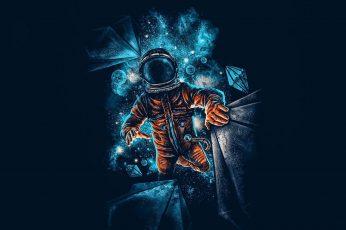 Astronaut, blue, space, dark, artwork, galaxy, graphics, cg artwork