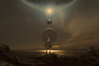 Fantasy, science fiction, mountains, sci-fi, planets, digital art
