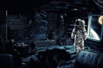 Astronaut digital art, futuristic, skeleton, skull, hat, camera