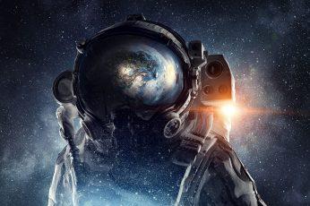 Space, astronaut, stars, galaxy, planet, space art, digital art