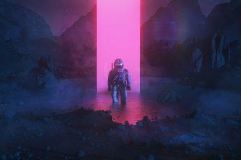 Artwork, digital art, neon, astronaut, Monolith, beeple, men