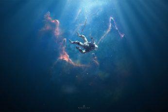 Man underwater digital wallpaper, person in suit digital wallpaper
