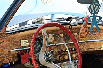 Red and white steering wheel wallpaper, vw beetle, oldtimer, vehicle