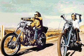 Art wallpaper, biker, bikes, chopper, clouds, cruise, easy, hippy, landscapes