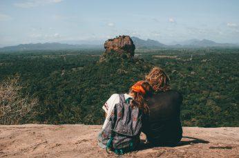 Man and woman sitting beside cliff wallpaper, human, person, people, sri lanka