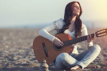 Women wallpaper, model, guitar, musical instrument, string instrument