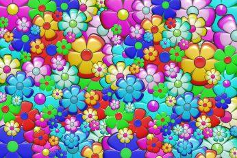 Illustration of assorted-color petaled flowers wallpaper, ornament, decoration
