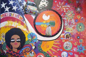 Multicolored textile wallpaper, woodstock art, hippi, colorful, paint