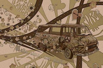 Car wallpaper, typography, artwork, brown, hippie, indoors, no people