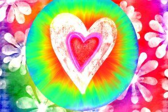 Multicolored heart wallpaper illustration, love, hippy, rainbow, colorful
