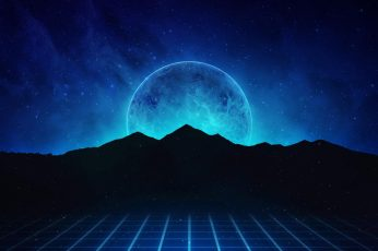 Mountains, Music, Stars, Neon, Planet, Hills, Background, Synthpop