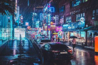 Black sedan, black car, street, neon, rain, reflection, Korean