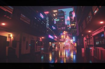 Sergey Munin, pixel art, neon lights, digital art, voxels, city lights