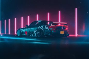 Sports car, Retro car, neon, Mazda RX-7 FD