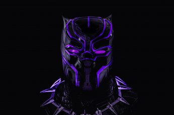 Mask, black background, Neon, comic, MARVEL, Black Panther