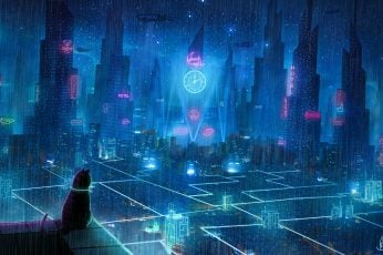 Cat, roof, city, neon lights, metropolis, future, cyberpunk