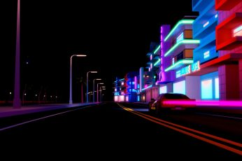 Auto, Road, Night, Music, The city, Neon, Machine, Background