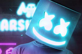 DJ Marshmello, neon, 4K