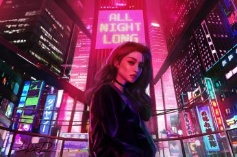 Girl, Lights, Night, The city, Neon, Advertising, Synthpop