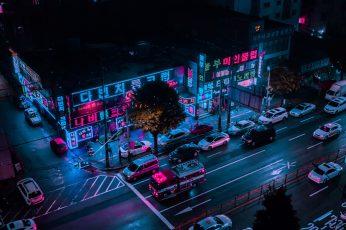 Midnight Rain, untitled, street photography, neon, night photography