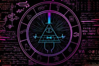 Gravity Falls, dark, neon
