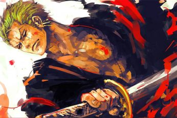 One Piece Roronoa Zorro wallpaper, Roronoa Zoro, sword, green hair