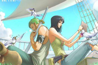 One Piece Zoro wallpaper, Nico Robin, Roronoa Zoro, anime, real people