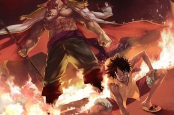 One piece wallpaper, monkey d. luffy, whitebeard, edward newgate, fire
