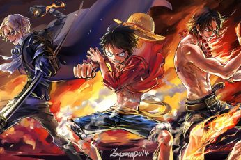 One Piece wallpaper, Monkey D. Luffy, Portgas D. Ace, Sabo, group of people