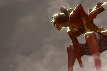 One Piece wallpaper, Monkey D. Luffy, anime boys, cloud – sky, low angle view