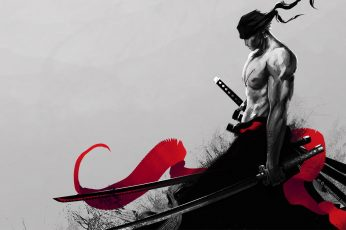 Man holding katana wallpaper illustration, One Piece, Zorro, Roronoa Zoro